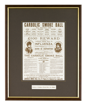 advertisement for the incredible theraputic powers of carbolic smoke balls.