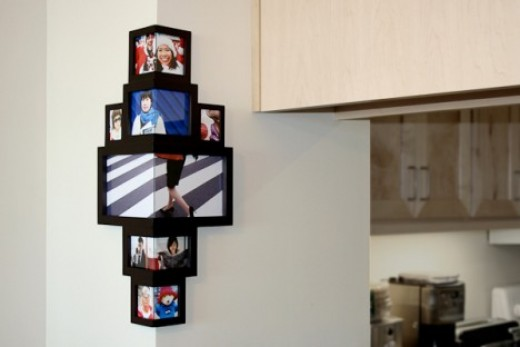 3d picture photo frame on wall corner