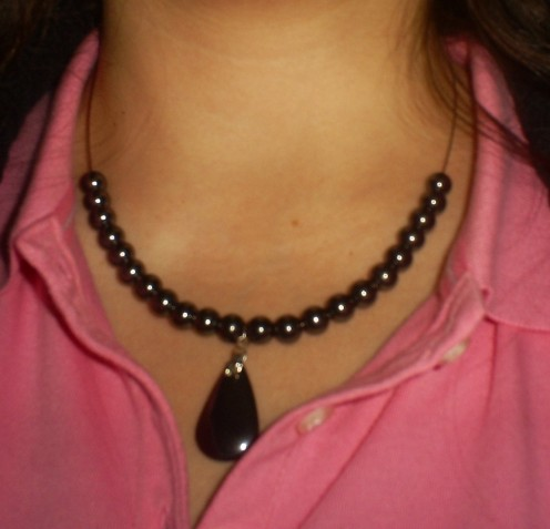 Add the next ten round magnetite beads and then screw back on the magnetic clasp.    This necklace only took fifteen minutes to make! (Photo By Sweetiepie On Hubpages)