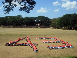 Family members of Morong 43 form human symbol to protest the 2nd month of their illegal detention