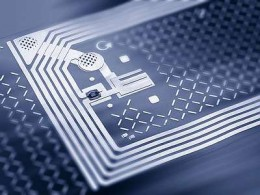 A tiny RFID chip used in credit cards and passports.