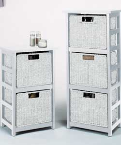 White rattan drawers are cheap and practical but may not have longevity