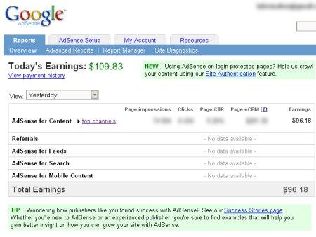 A screen shot of Google Adsense earnings
