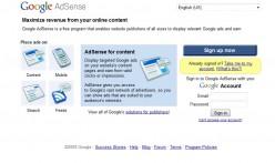 Google Adsense sign-up page