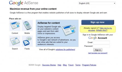 Google Adsense sign-up page