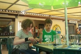 Eating a pizza before boarding in Cassafieres, France!