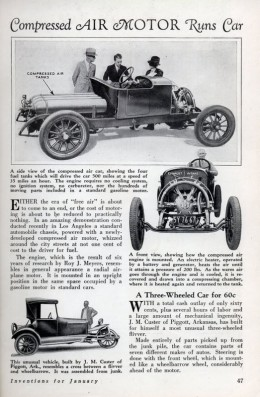 Compressed air cars in the past. Here are the two most successful early contenders. Click to enlarge picture.