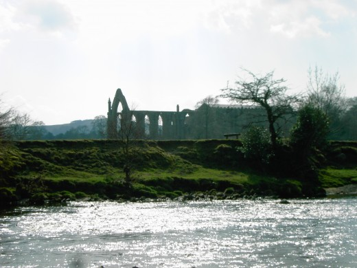 The ruins of the 12th century priory across the river Wharfe. D.A.L.