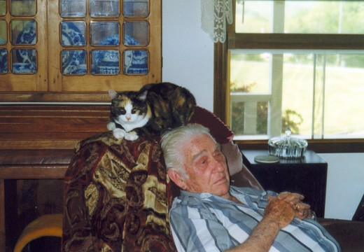 Dad with a feline friend