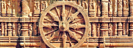 Great sculpture stonework wheel on Konark Sun Temple, Orissa