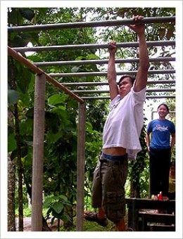 Although a more conventional approach would be to practice on some monkey bars at a park: