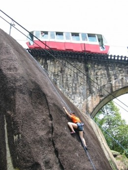 Climb anything that looks interesting, even if passengers on the train yell at you as if you're crazy and they think you're going to kill yourself.  Hey, you're the climber - you know perfectly well what's safe and what's not.