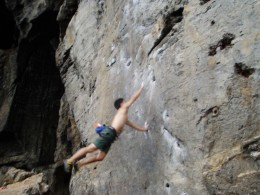 Practice dyno-ing across a chasm - using a rope of course! We're crazy, yes, but not suicidal!
