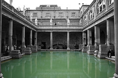 The Roman Baths at Bath in England fed by a thermal Spring.