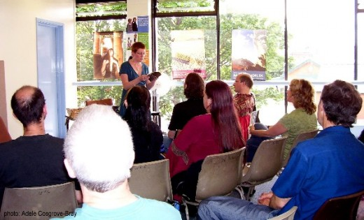 Adrienne J Odasso reads her work before a crowded audience at Parallel Dimensions 2009, a Fantasy/Horror/Science-Fiction event held in Wirral, England.