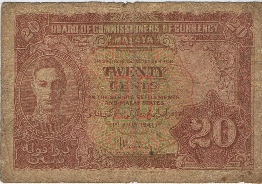 Paper Money used during the time when the British Empire rules Malaya (Now known as Malaysia).