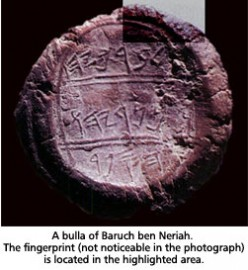 Bulla of a man named Berachyahu ben Neriah the Scribe -- A fingerprint shows clearly in the upper right corner as a signature, about 400 BC.