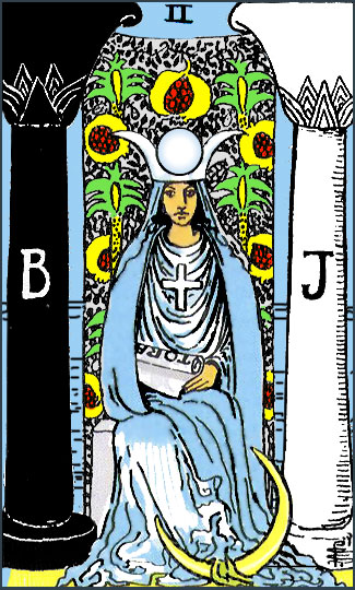 The High Priestess Tarot Card, featuring Boaz and Jachin.