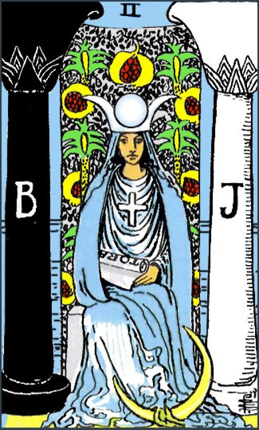 The High Priestess Tarot Card, featuring Boaz and Jachin.