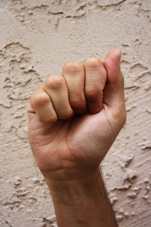 A closed fist with the thumb to the side.