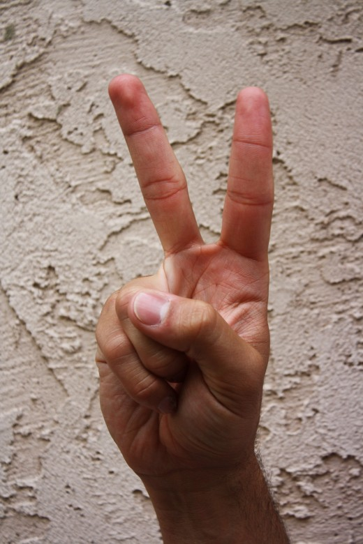 Index and middle fingers are extended and spread. (Peace Bro!)