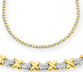 Turn yellow gold necklace into white like studded with diamonds with Rhodium plating.