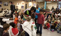 Michelle Obama celebrating with school children