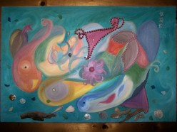 """""""Beginning of Life"""" acrylic paint collage with beach glass, old jewelry, driftwood, seashells."""