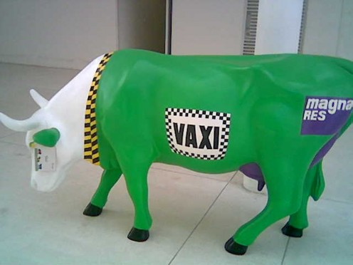 """The Cow Parade"" street art project in Mexico.  Tec de Monterrey, 2006."