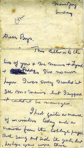 The letter written by Kevin Barry in prison