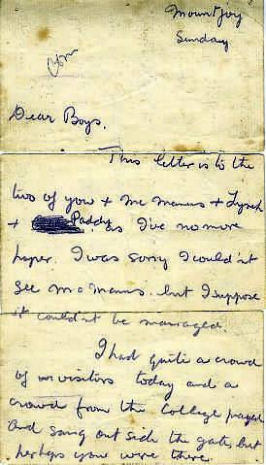 Letter written by Kevin Barry describing all the visiters he had in his cell as he awaited execution.