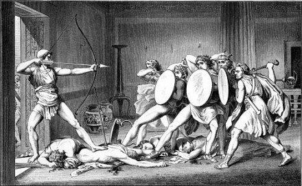 Odysseus faces the Suitors.