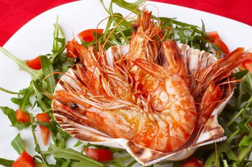 Large Shrimps and Rocket Salad from Dreamstime.com
