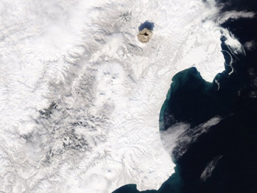 NASA Photo of Russias Shiveluch Volcano Ash cloud Taken in March 2007