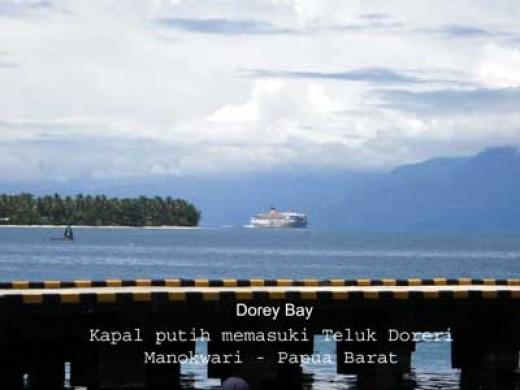 PELNI passenger ship was entering the Dorey bay of Manokwari city in Papua island