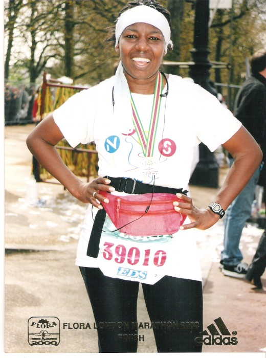 At the finish of my last Flora London Marathon 2000! As of this year it becomes the Virgin London Marathon (new sponsors).