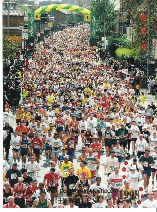Follow the red dots and find me in this crowd of runners! Flora London Marathon 1998.