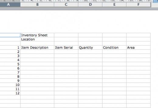 sample inventory sheets