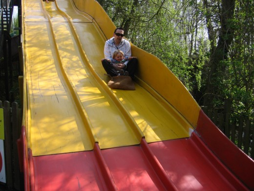 With Dad on the Giant Slide!