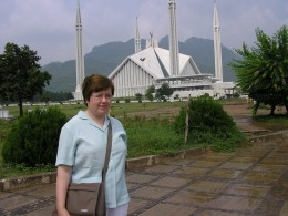 Outside the Faisal Mosque in Islamabad