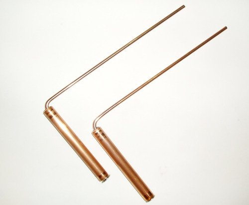 Copper L-shaped dowsing rods.  Photo by Charlotte Gerber.