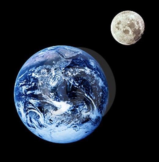 The earth and moon as they appear today from outer space.