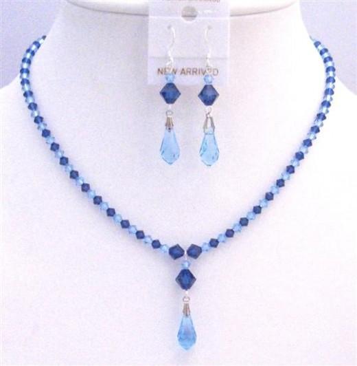 Prom Jewelry Blue Swarovski Crystals Aquamarine Sapphire Jewelry Set