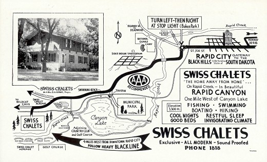 Swiss Chalets Motel - Back of vintage postcard, Rapid City, SD