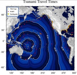 This is a chart indicating travel times for a tsunami generated in the SW Pacific.