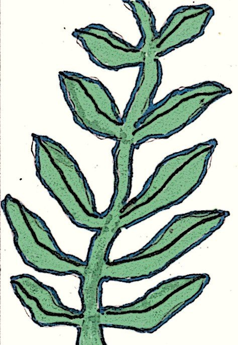 Leaves on a vine--the image for my textured art trading card