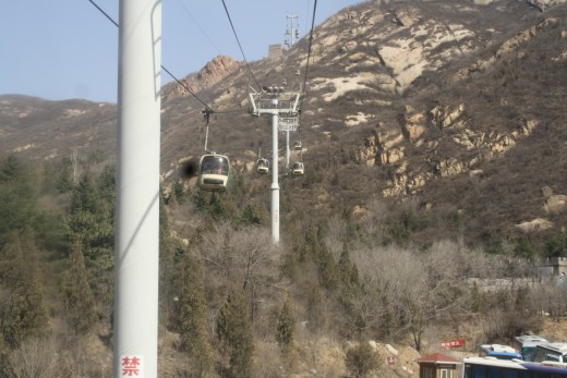 Going up in the cable car.