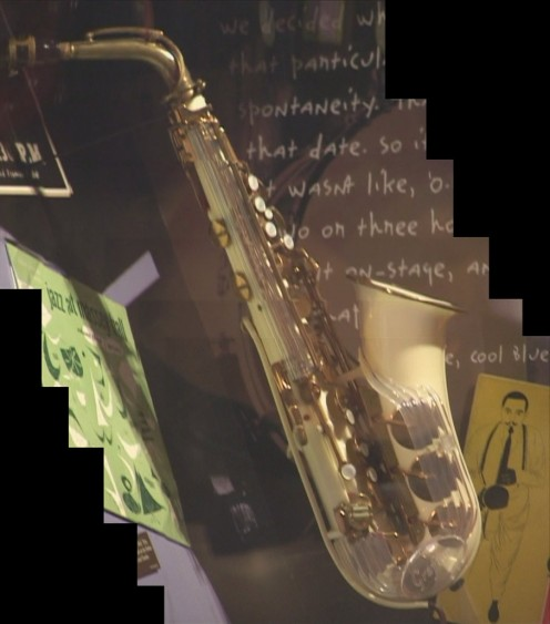 "Charlie ""Bird"" Parker's instrument at the Jazz Museum."