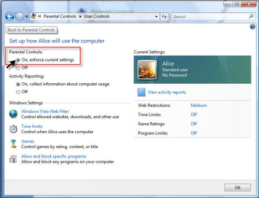 Note: This image is from Windows Vista; Windows 7 is very similar except Web Filters no longer appear on the screen. Note: If you are using, Windows 7, web filtering was removed, but can be setup via Windows Live Family Safety.
