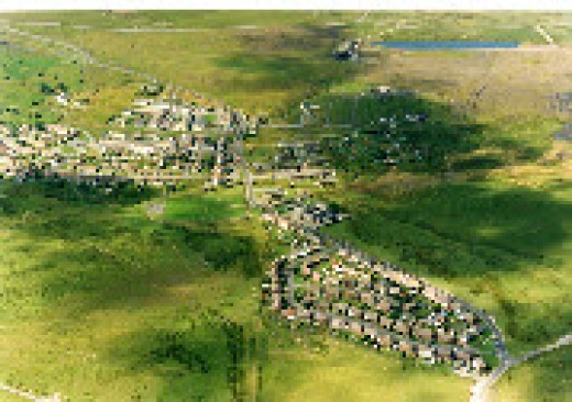 Aerial photo of Fochriw 2006 from Google Earth.